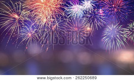 Colorful Firework With Bokeh Background With Copy Space For New Year Celebration, Abstract Holiday B
