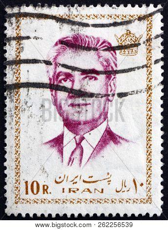 Iran - Circa 1972: A Stamp Printed In Iran Shows Mohammad Reza Shah Pahlavi, Shah Of Persia, Circa 1