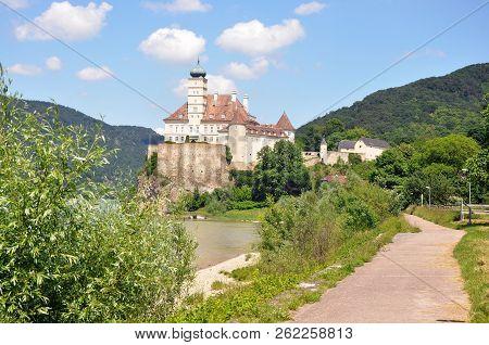 Wachau Valley, Austria - June 4, 2018: Schonbuhel Castle, A Romantic Magic Fairy Castle Ona Rock