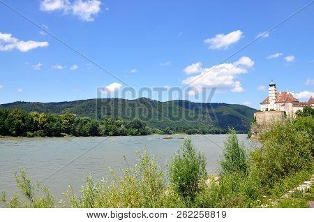 Wachau Valley, Austria - June 4, 2018: Schonbuhel Castle, A Romantic Magic Fairy Castle On The River