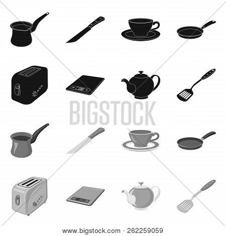 Vector Illustration Of Kitchen And Cook Symbol. Collection Of Kitchen And Appliance Stock Vector Ill