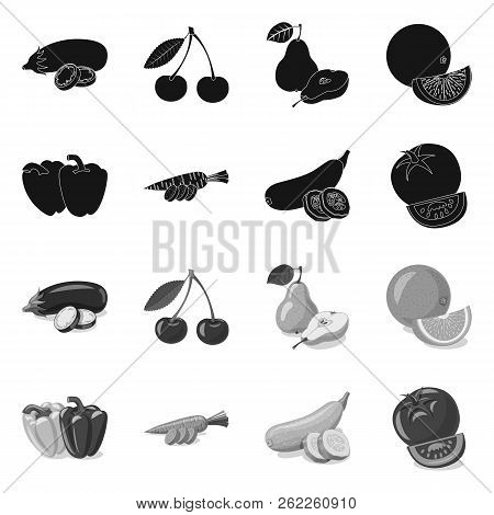 Vector Design Of Vegetable And Fruit Symbol. Set Of Vegetable And Vegetarian Stock Vector Illustrati