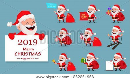 Merry Christmas. Funny Santa Claus, Set Of Ten Poses. Cheerful Cartoon Character. Usable For Greetin