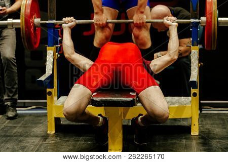 Front View Bench Press Athlete Of Competition Powerlifting