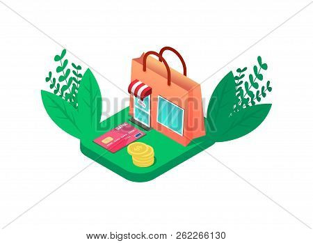 Colorful Isometric Online Shop Look Like Shopping Bag. With Credit Card And Coins. Retail Marketing