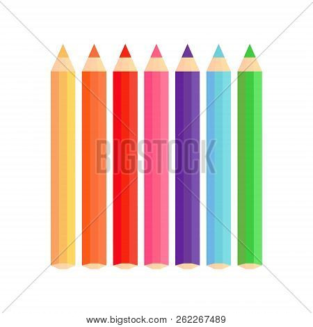 Coloured Pencils Vector Graphic. Yellow, Orange, Red, Pink, Purple, Blue And Green Colored Pencil, I