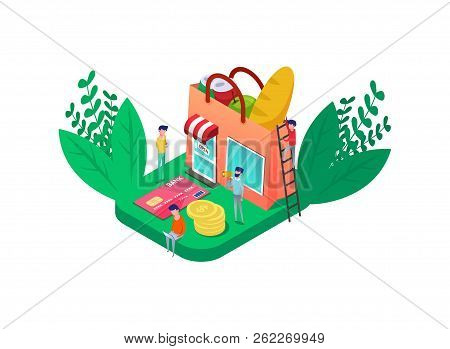 Isometric Online Grocery Food Shop Look Like Shopping Bag Full Vegetables, Bread, Can Of Soda Water.