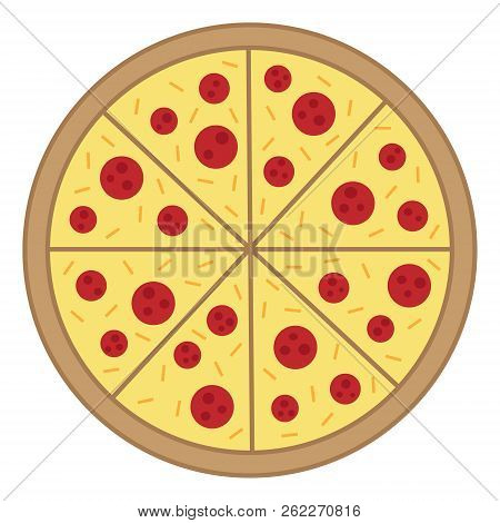 Whole Round Pizza Vector Illustration Doodle Cartoon Drawing. Cheesy Salami Pizza With Pepperoni And