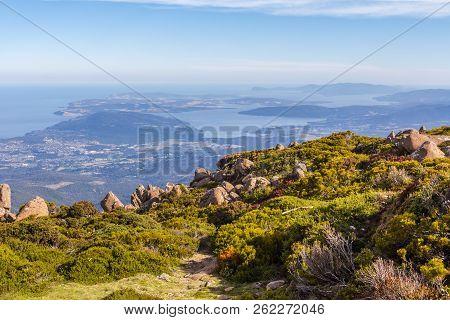 Mount Wellington, Hobart, Australia - 7 January 2017: The Stunning Summit Of Mount Wellington Overlo