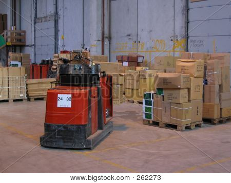 Truck And Pallets In A Warehouse