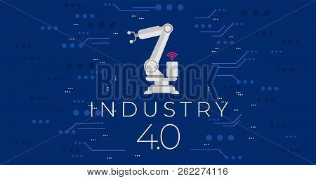 Industry 4.0 Concept Vector Illustration.modern Industrial Revolution - Automation And Data Exchange
