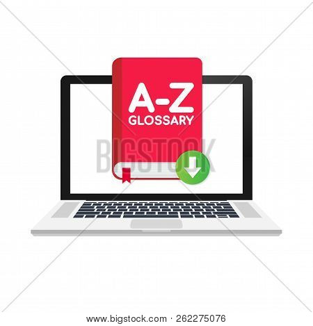 Download Glossary Book On Laptop. Vector Stock Illustration.