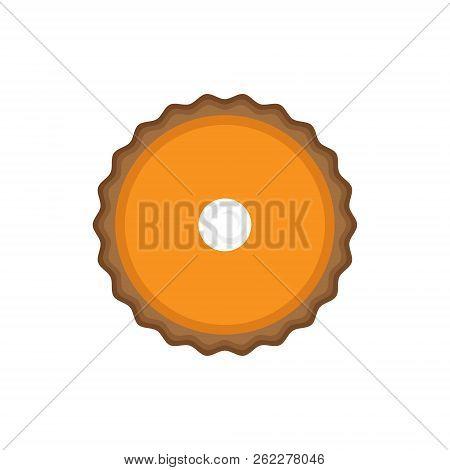 Pumpkin Pie Vector Illustration. Top View. Thanksgiving Pumpkin Pie With Dough Crust, Cream Filling