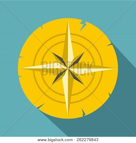 Gold Ancient Compass Icon. Flat Illustration Of Gold Ancient Compass Icon For Web