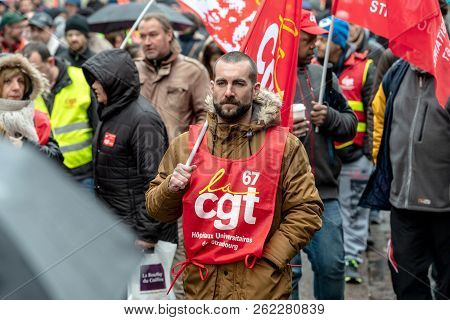 Strasbourg, France - Mar 22, 2018: Cgt General Confederation Of Labour Workers With Placard At Demon