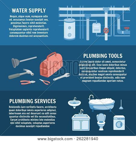 Plumbing Service Set. Water Supply, Plumbing Tools, Plumbing Services. Vector Cartoon Illustration.