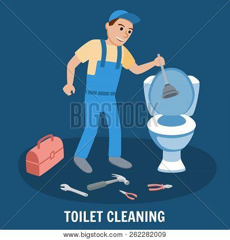 Toilet Cleaning, Plumbing Service. Plumbing Toilet Leakage Or Clogging, Plumber Repair Tools. Sewage