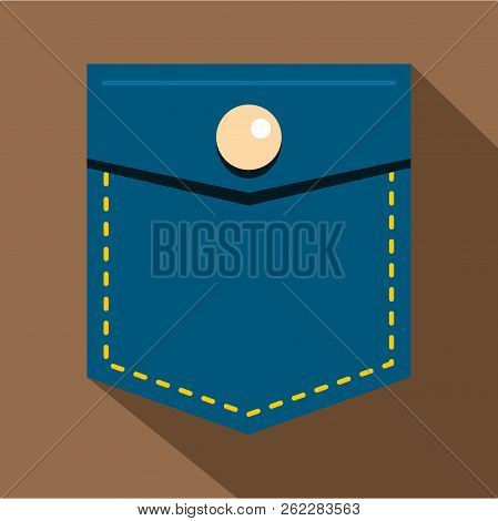 Blue Jeans Pocket With Button Icon. Flat Illustration Of Blue Jeans Pocket With Button Icon For Web