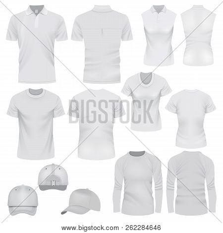 T-shirt Cap Mockup Set. Realistic Illustration Of 10 T-shirt Cap Mockups For Web