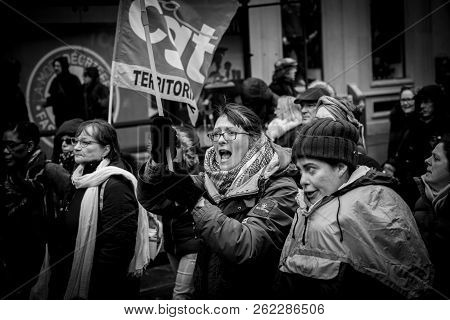 Strasbourg, France - Mar 22, 2018: Young Woman Proteting Holding Cgt General Confederation Of Labour
