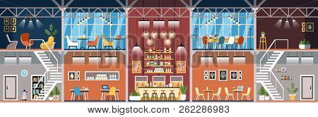 Coworking Workspace. Creative Office Interior. Indoor Concept And Furniture. Loft Style Restaurant.
