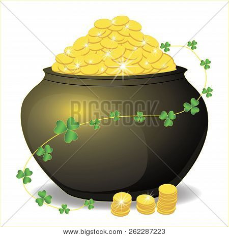 Pot full of money. The glow of gold. Many gold coins. Sprig of clover flower, Shamrock.. White, isolated. Vector