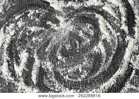 Flour On Black Stone Surface, Flour Background
