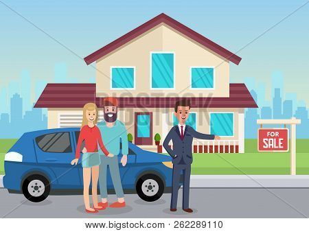 House For Sale. Man Broker And Home Sales. Real Estate Agency Concept. Estate Agent And New House. P
