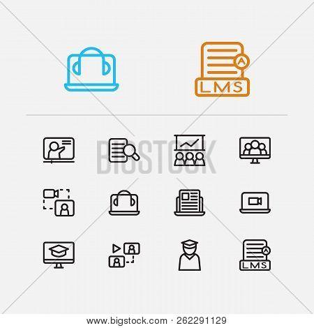 Online Education Icons Set. Development Training And Online Education Icons With Online Course, Onli