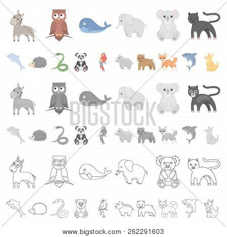 An Unrealistic Animal Cartoon Icons In Set Collection For Design. Toy Animals Vector Symbol Stock We