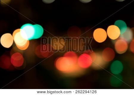 Abstract background image of blurry city decoration lights