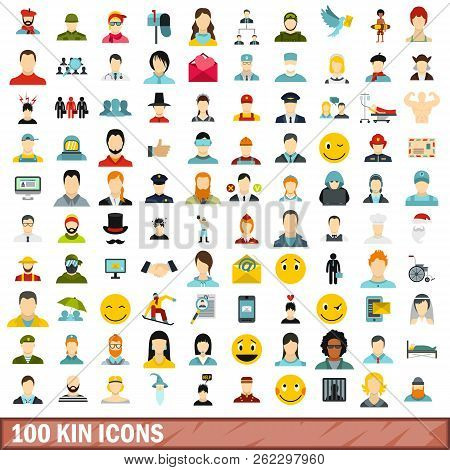 100 Kin Icons Set In Flat Style For Any Design Illustration