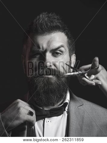 Bearded Man, Long Beard, Brutal, Caucasian Hipster With Moustache. Men Haircut In Barber Shop. Barbe