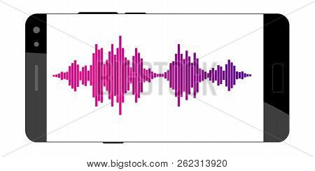 Concept Of Mobile Application Voice Recognition. Sound Wave With Imitation Of Voice. Vector Illustra