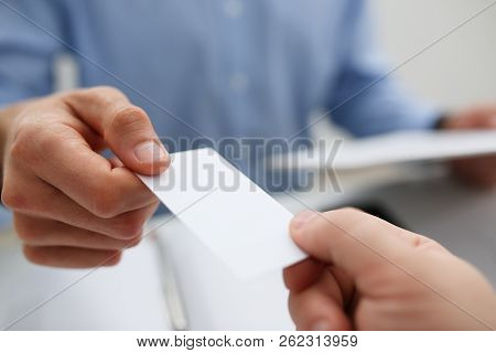 Male Hand In Suit Give Blank Calling Card Tom Man Visitor Closeup. White Collar Partners Company Nam