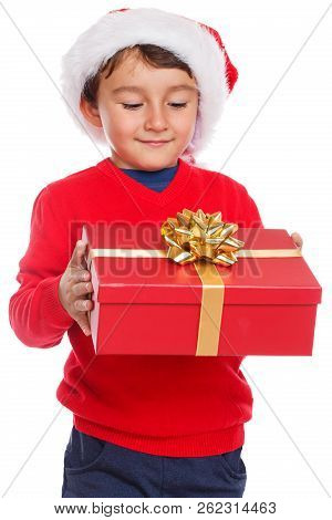 Child Kid Christmas Gift Present Santa Claus Surprise Isolated On White