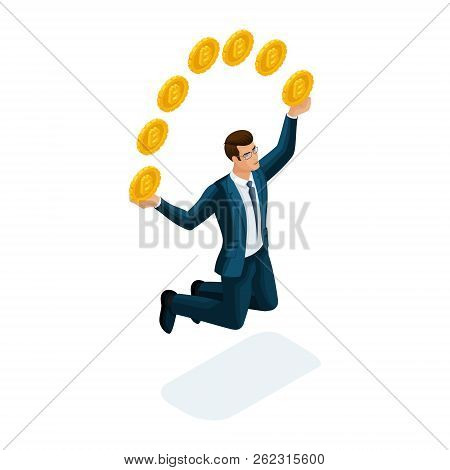 Isometric Businessman Is Happy To Throw Up Coins, Jumping Concept Of A Successful Financial Transact