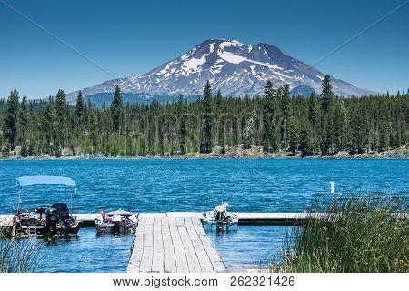 Lava Lake, Along The Cascade Lakes Scenic Byway Near Bend Oregon, With Mt. Bachelor In The Backgroun