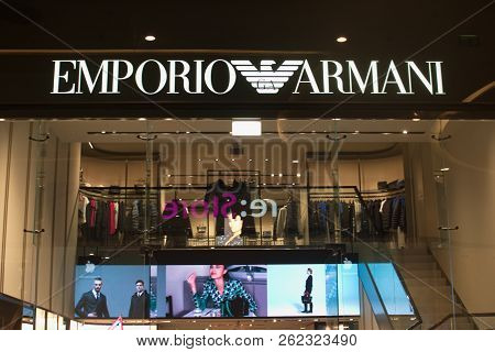 Saint Petersburg, Russia -september 07, 2018: Emporio Armani Store In The Shopping Center.