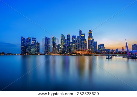 Singapore, Singapore - APRIL 19, 2018: View at Singapore City Skyline, which is the iconic landmarks of Singapore