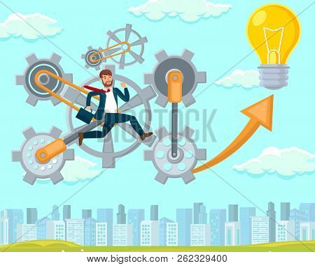 New Idea In Startup. New Entrepreneur, Company Growth And Success. Start Up Technology Concept. Man