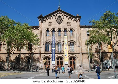 BARCELONA, SPAIN - APRIL 15, 2018: Exterior of the University of Barcelona in Catalonia. Designed by architect Elies Rogent, the building was completed in 1882.