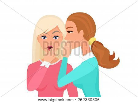 Woman Whispering Gossip, Surprised, Says Rumors To Other Female Character. Gossiping Secret Woman Fl