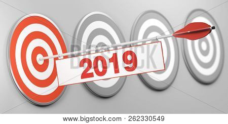 New Year or New Year 2019 concept with target