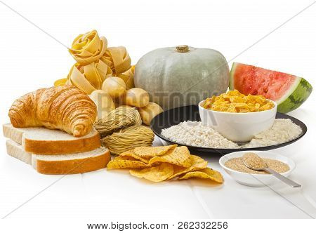 High Glycaemic Index Foods - Carbohydrates Which Have A High Glycaemic Index Rating, On A White Back
