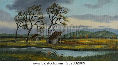 Oil Painting Of A Pastureland With Two Small Barns And A River