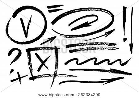 Vector Hand Drawn Design Elements. Ink Brush Drawn Notes And Marks. Set Of Artistic Elements Such As