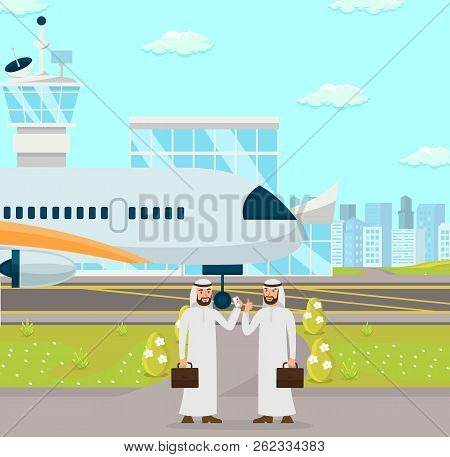 Business Meeting Two Arab Men At Airport. Arabian Businessmen In Background Of Airplane. Development
