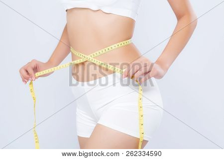 Asian Woman Diet And Slim With Measuring Waist For Weight Isolated On White Background, Girl Have Ce