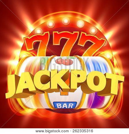 Golden Slot Machine Wins The Jackpot. Big Win Concept. Casino Jackpot. Vector Illustration